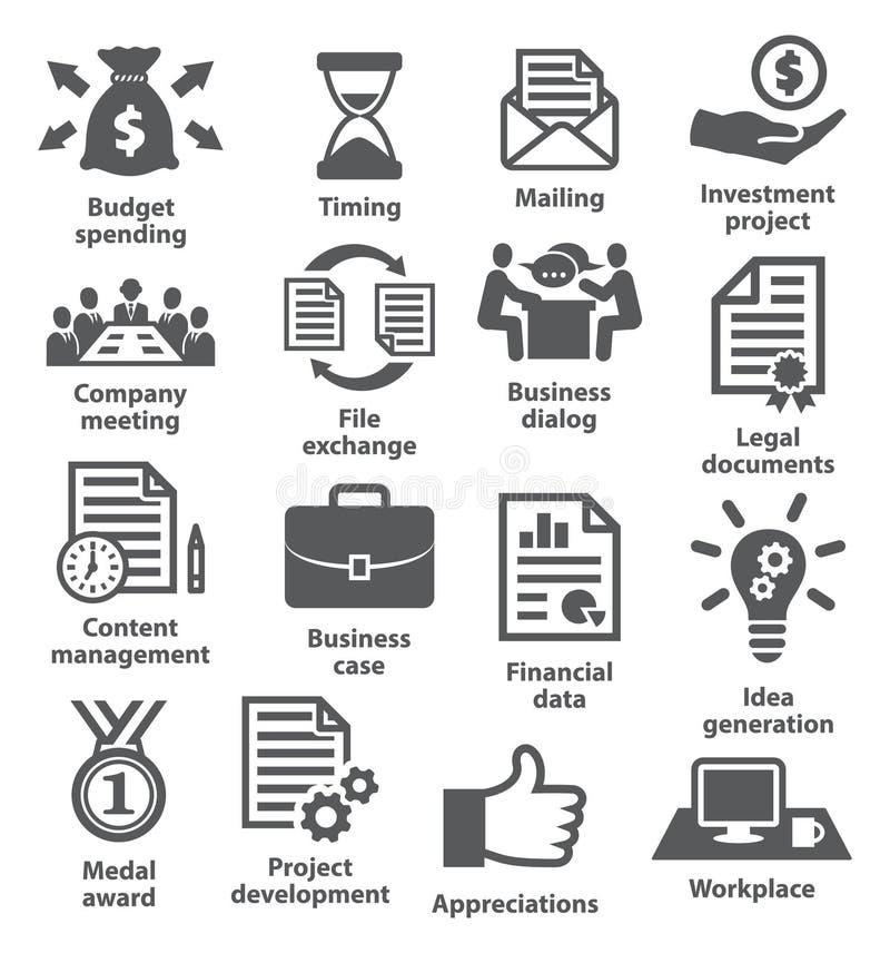 Bedrijfsproject planningspictogrammen royalty-vrije illustratie