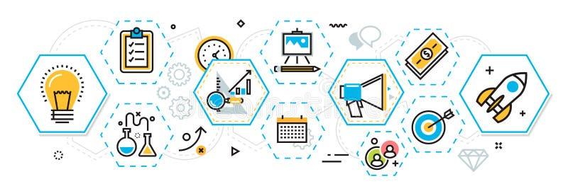 Bedrijfsproject startprocesbanner en regeling in zeshoeken e vector illustratie