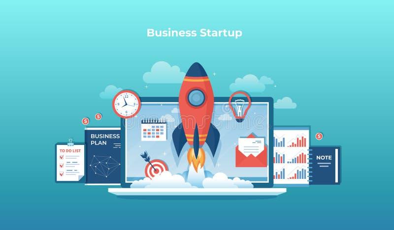 Bedrijfsprojectopstarten, financiële planning, idee, strategie, beheer, totstandbrenging en succes Raketlancering van laptop royalty-vrije illustratie