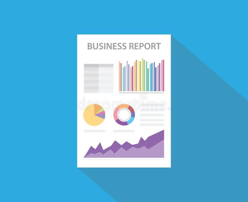 Bedrijfsrapport met document document en grafiek en gegevensgrafiek vector illustratie