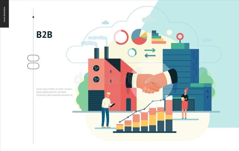 Bedrijfsreeks - b2b zaken aan zaken, Webmalplaatje royalty-vrije illustratie