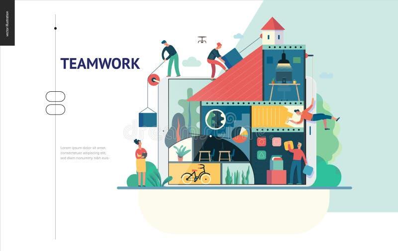 Bedrijfsreeks - bedrijf, groepswerk en samenwerkingswebmalplaatje vector illustratie