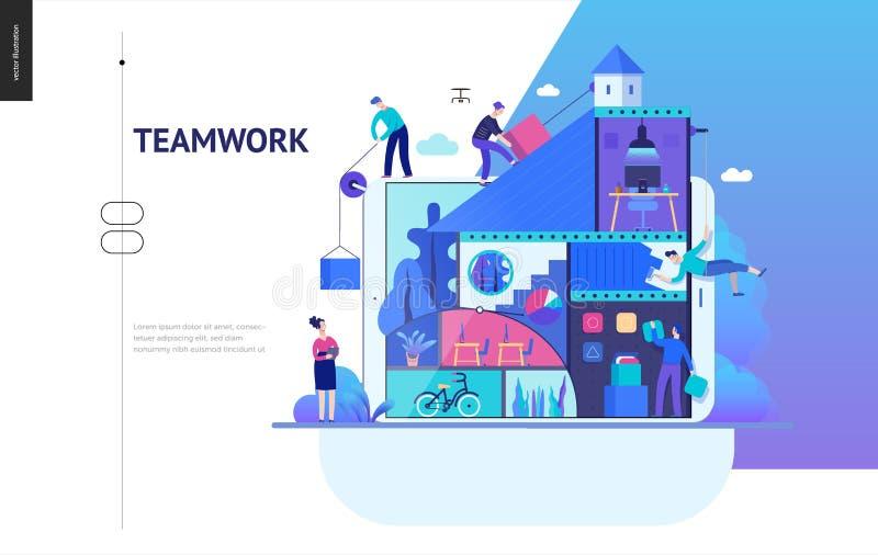 Bedrijfsreeks - bedrijf, groepswerk en samenwerkingswebmalplaatje stock illustratie