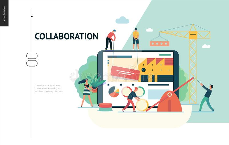 Bedrijfsreeks - groepswerk en samenwerkingswebmalplaatje stock illustratie