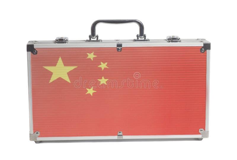 Bedrijfsreiskoffer met de vlag van China stock foto