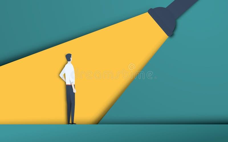 Bedrijfsrekrutering en talent die vectorconcept in moderne 3d document knipselstijl koppensnellen Symbool van het huren, werkneme stock illustratie