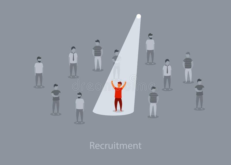 Bedrijfsrekrutering of het huren vectorconcept Het zoeken van talent Onderneemster die zich in schijnwerper of zoeklicht het zoek stock illustratie