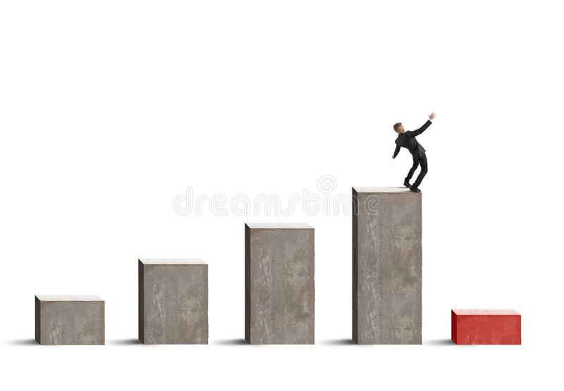 Bedrijfsrisico met crisis stock afbeeldingen