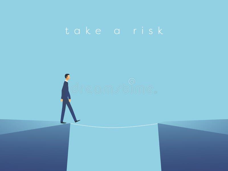 Bedrijfsrisico vectorconcept met zakenman het lopen op strak koord Symbool van uitdaging, succes, het overwinnen en gevaar stock illustratie