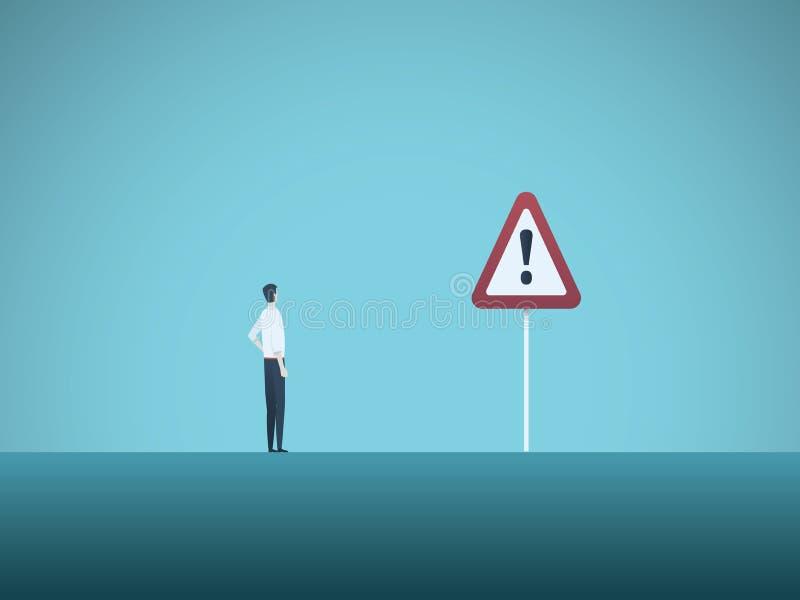 Bedrijfsrisico vectorconcept Zakenman en waarschuwingsbord Symbool van gevaar, mislukking, faillissement, recessie en crisis stock illustratie