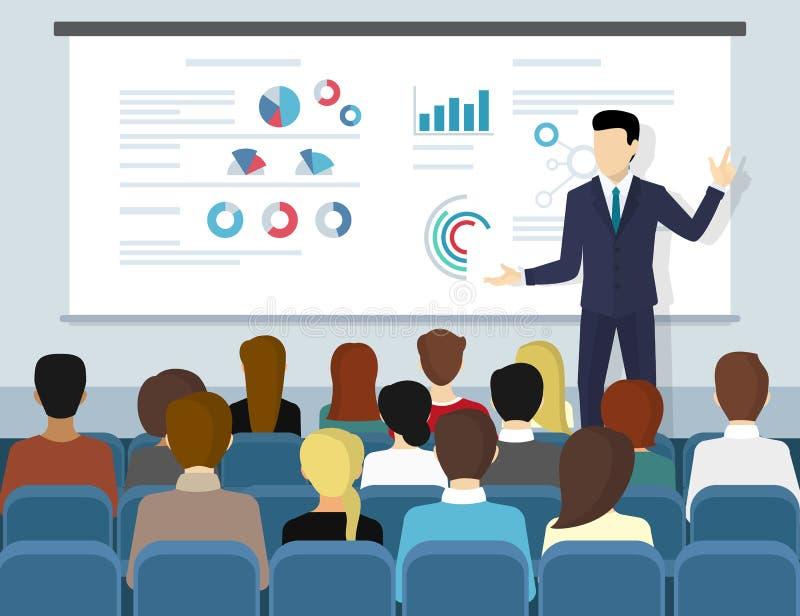 Bedrijfsseminariespreker die presentatie en beroepsopleiding doen vector illustratie