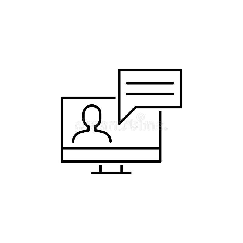 bedrijfsseo, het pictogram van de videoconferentielijn Groepswerk bij het idee De tekens en de symbolen kunnen voor Web, embleem, stock illustratie