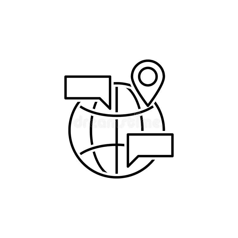 bedrijfsseo, internationaal lijnpictogram Groepswerk bij het idee De tekens en de symbolen kunnen voor Web, embleem, mobiele toep vector illustratie