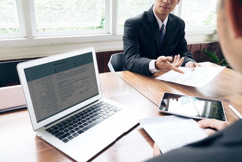 Bedrijfssituatie, het concept van het baangesprek stock afbeelding