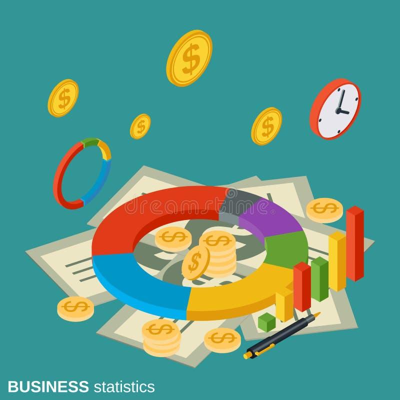 Bedrijfsstatistieken, financiële informatie vectorconcept vector illustratie