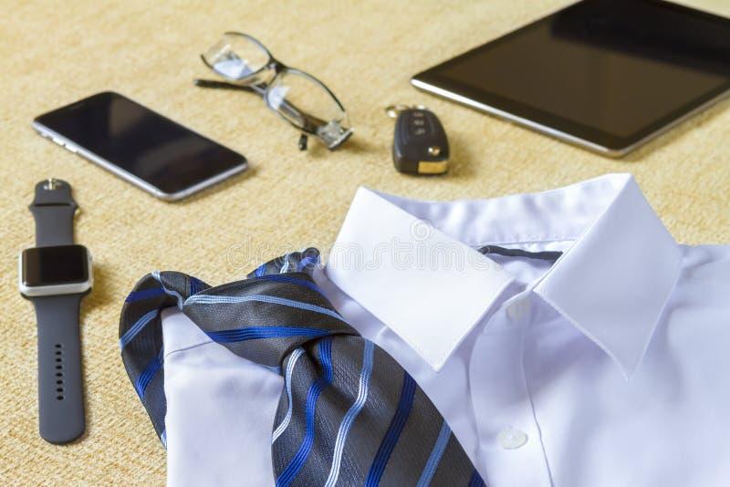 Bedrijfsstijl, kleren en objecten concept royalty-vrije stock foto
