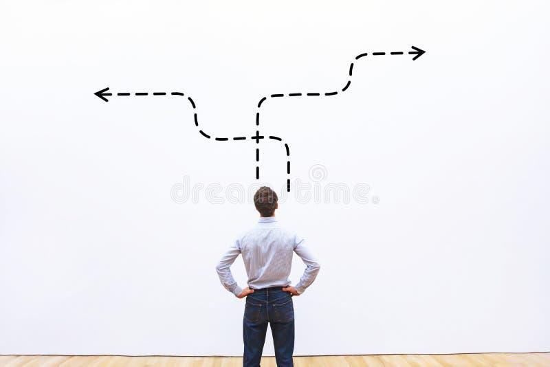 Bedrijfsstrategie of besluit die - concept maken stock afbeelding