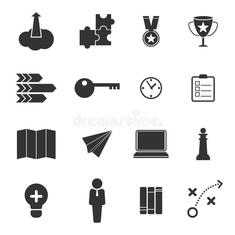 Bedrijfsstrategie en marketing geplaatste pictogrammen stock illustratie
