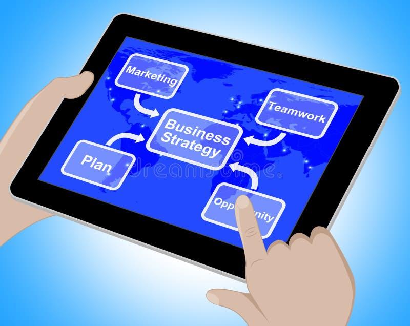 Bedrijfsstrategiediagram die Groepswerk het 3d Teruggeven tonen royalty-vrije illustratie