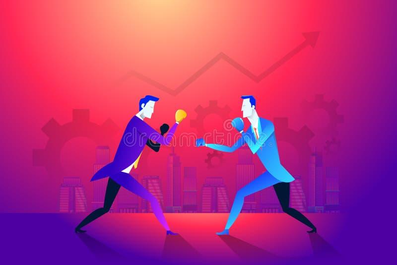 Bedrijfsstrijdclub Het in dozen doen en handschoen, zakenlui en geweld, boksersterkte Vector illustratie vector illustratie