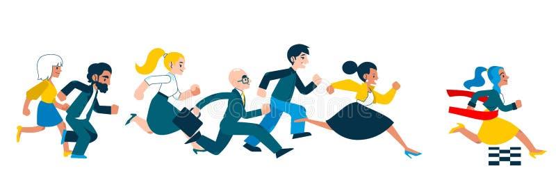 Bedrijfssucces en de concurrentieconcept met lopende mensen in kostuums stock illustratie