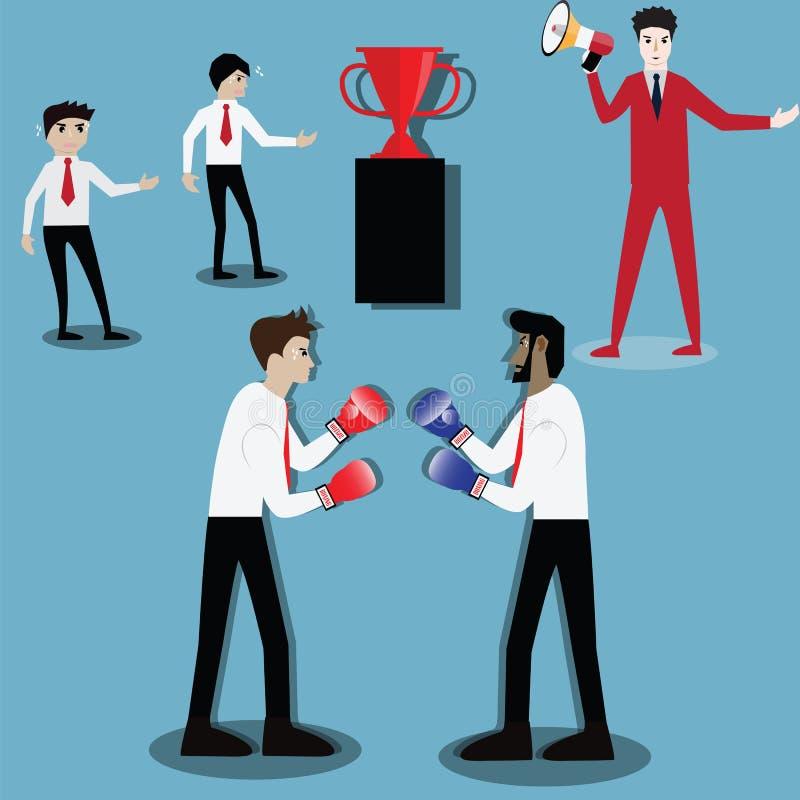 Bedrijfssuccesconcept, Twee zakenlieden die een strijd met doos hebben vector illustratie