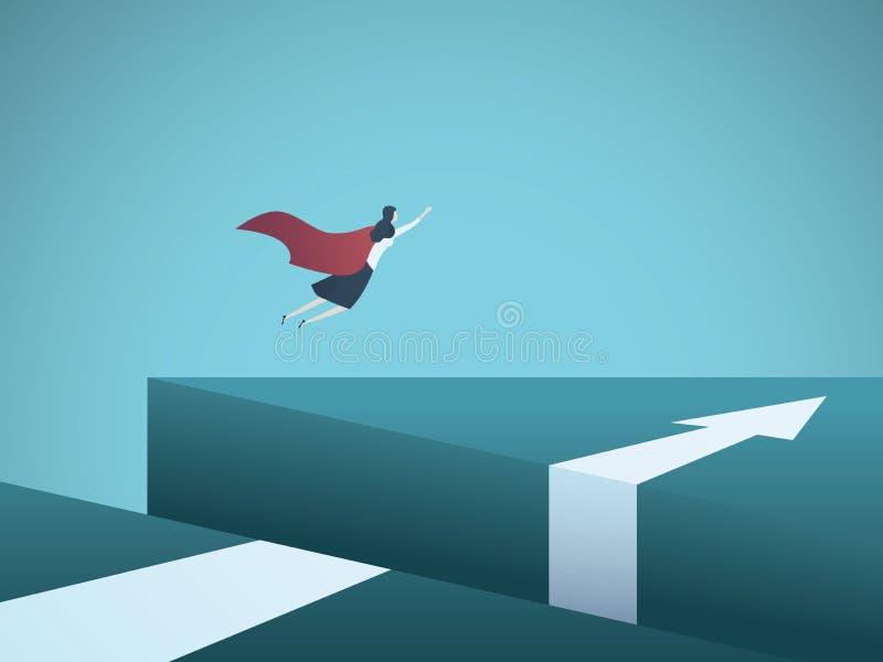 Bedrijfssuperhero vectorconcept met zakenman het vliegen over hiaat Symbool die van het overwinnen van uitdagingen, oplossing vin vector illustratie