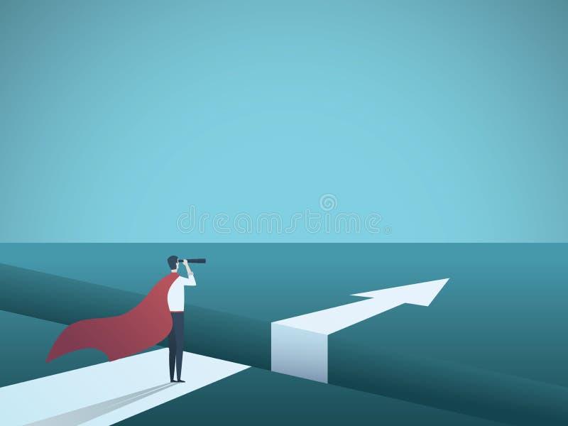 Bedrijfssuperhero vectorconcept Symbool van uitdaging, moed, visie, strategie, macht en leiding vector illustratie