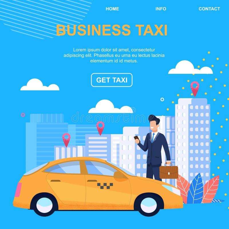 Bedrijfstaxi Krijg Taxi Individuele benadering stock illustratie