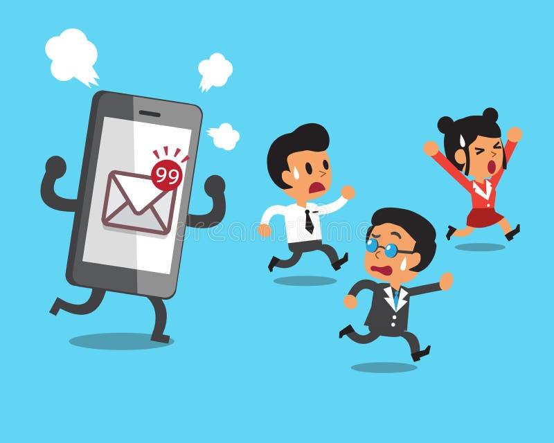 Bedrijfsteam en smartphone met postpictogram vector illustratie