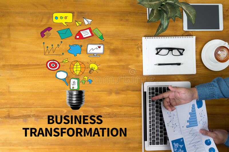 Bedrijfstransformatie stock foto's