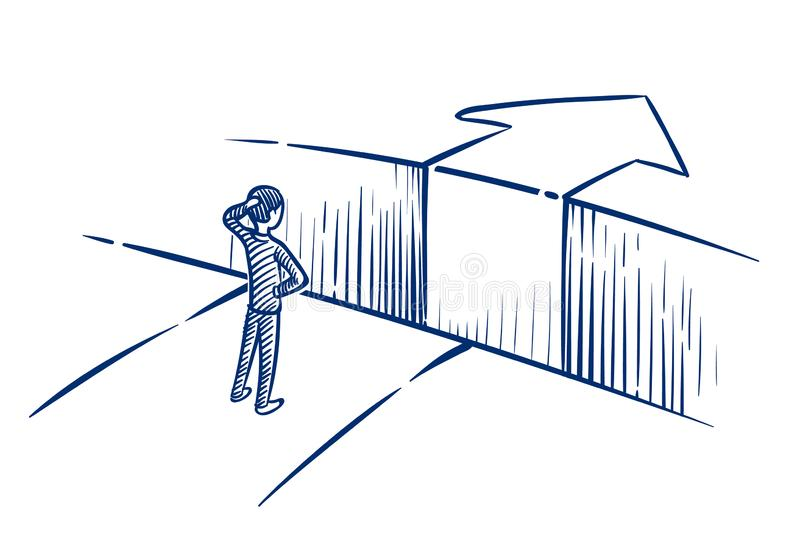 Bedrijfsuitdagingsconcept De zakenman overwint hinderniskloof op manier aan succes Hand getrokken vectorillustratie vector illustratie