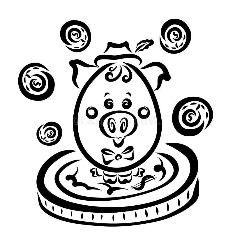Bedrijfsvarken en geld, spaarvarken, zwart overzicht vector illustratie
