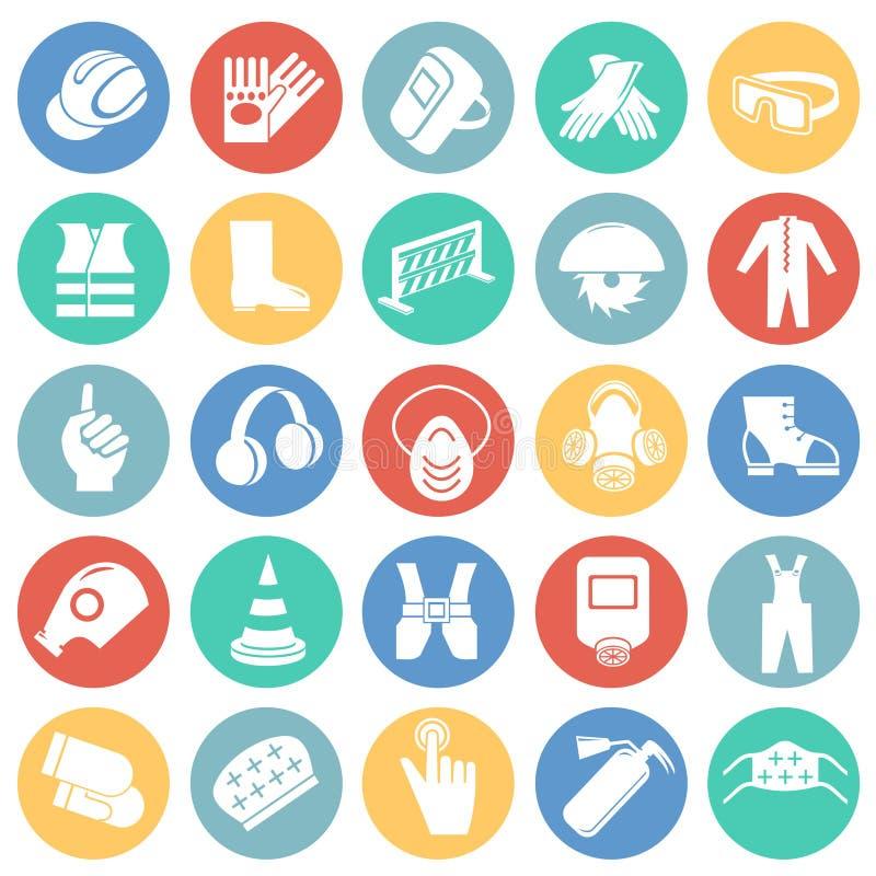 Bedrijfsveiligheidstekens op de achtergrond die van kleurencirkels worden geplaatst stock illustratie