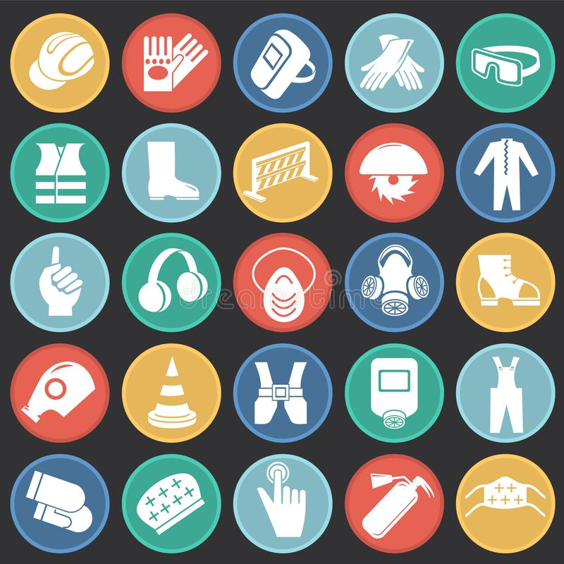 Bedrijfsveiligheidstekens op de zwarte achtergrond die van kleurencirkels worden geplaatst royalty-vrije illustratie