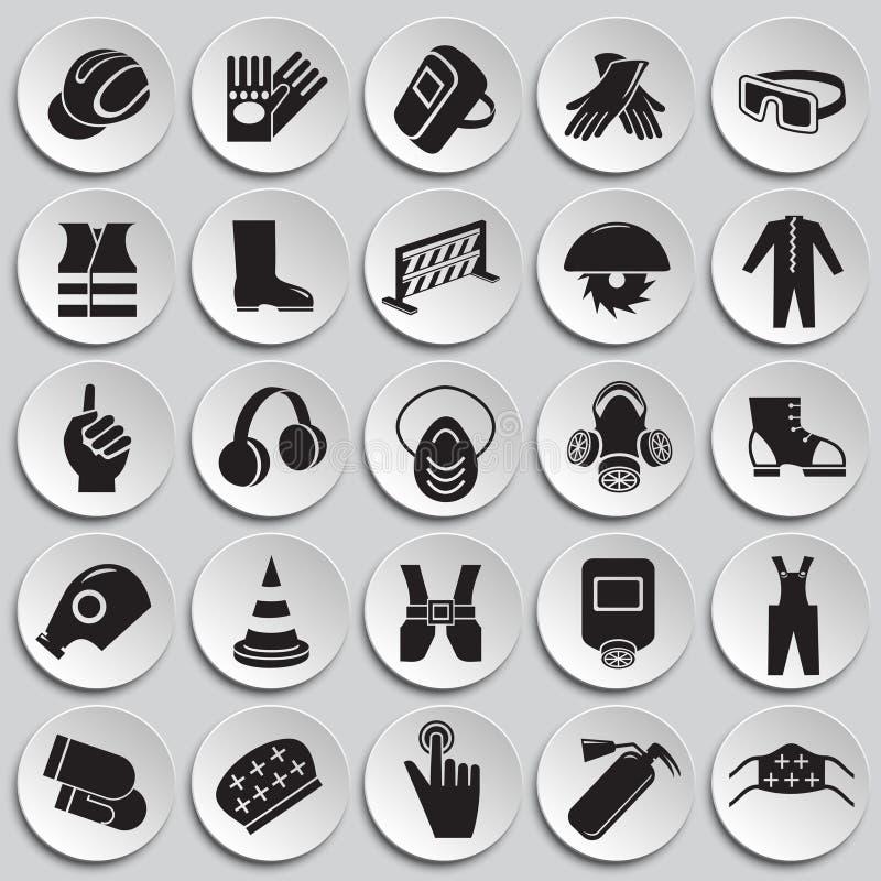 Bedrijfsveiligheidstekens op platenachtergrond die worden geplaatst royalty-vrije illustratie