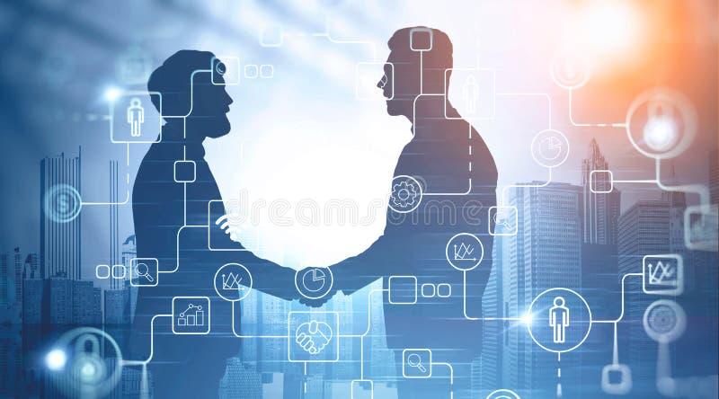 Bedrijfsvennootschap en digitale pictogrammen stock foto's