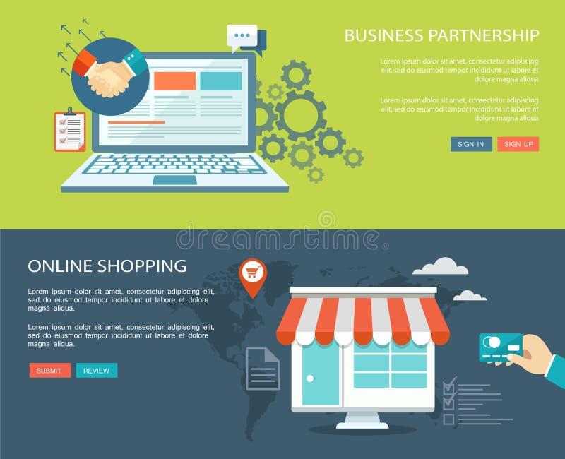 Bedrijfsvennootschap en online het winkelen vlakke die banners worden geplaatst met vector illustratie