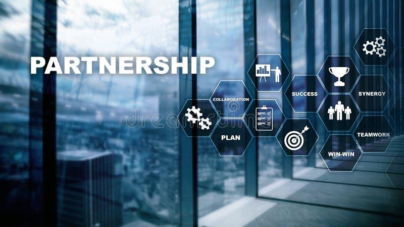 bedrijfsvennootschapconcept Succesvolle overeenkomst na groot royalty-vrije stock afbeeldingen