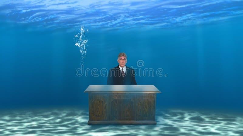Bedrijfsverkoop die Bureau op de markt brengen Onderwater royalty-vrije illustratie