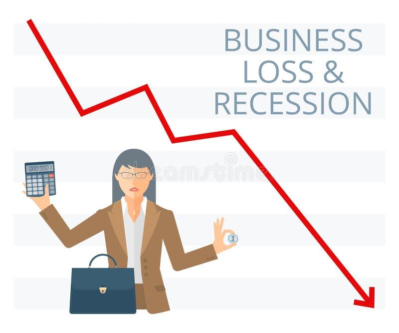 Bedrijfsverlies en illustratie van het recessie de vlakke vectorconcept vector illustratie