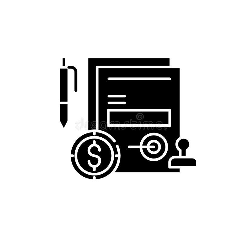 Bedrijfsverplichtings zwart pictogram, vectorteken op geïsoleerde achtergrond Het symbool van het bedrijfsverplichtingsconcept, i royalty-vrije illustratie