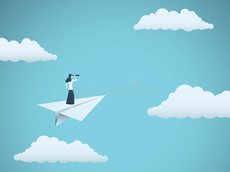 Bedrijfsvisie of onrealistisch vectorconcept met onderneemster op document vliegtuig met telescoop Symbool van vrouwenleider vector illustratie