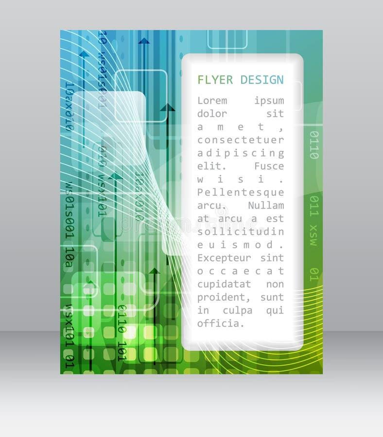 Bedrijfsvliegermalplaatje met abstracte technologische patroon, vierkant en pijlen vector illustratie