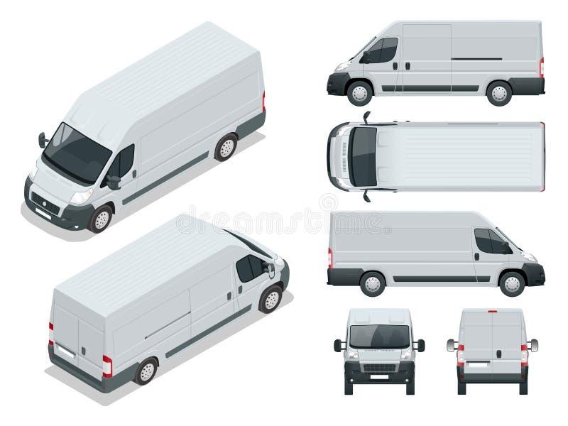 Bedrijfsvoertuig Logistische auto Lading minivan op witte achtergrond Voor, achter, zij, hoogste en isometry voorzijde stock illustratie