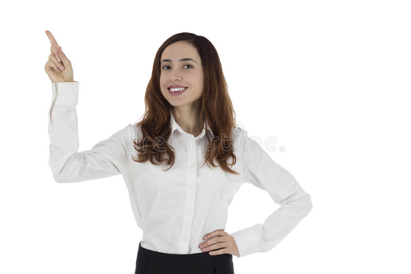 Bedrijfsvrouw die aan exemplaarruimte richten royalty-vrije stock afbeelding