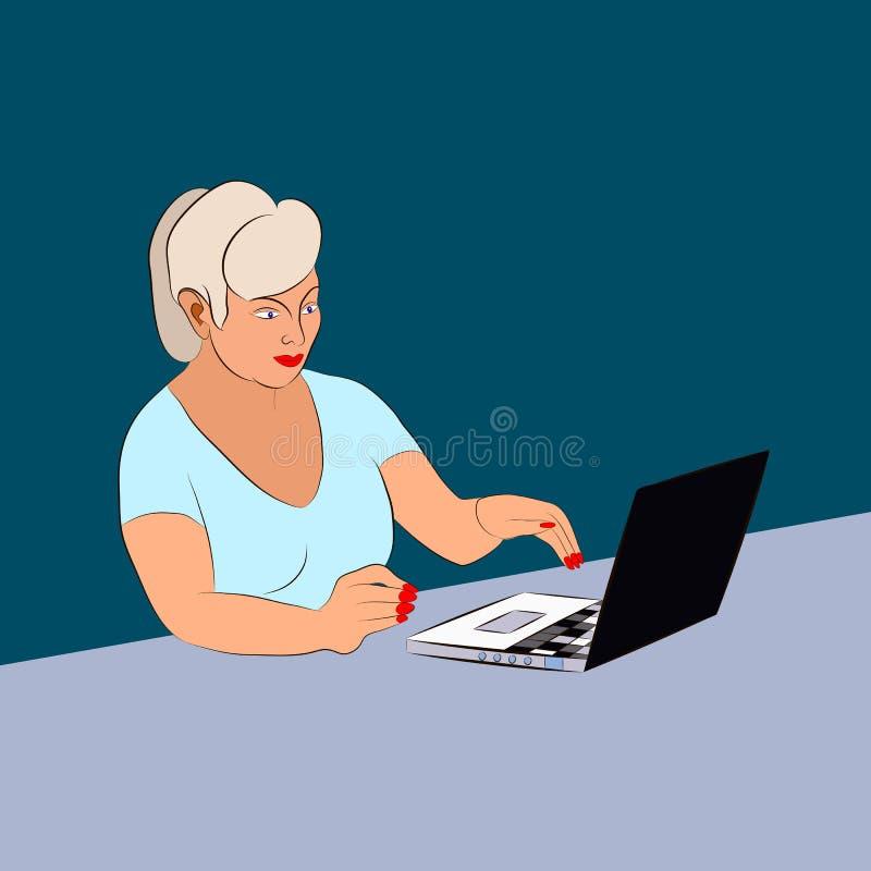 Bedrijfsvrouw die aan laptop bij de lijst werken vector illustratie