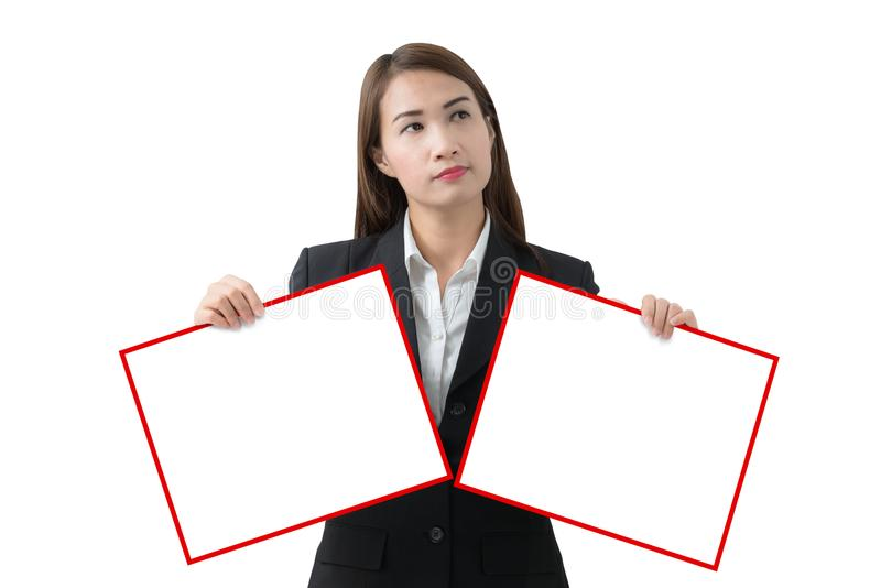 Bedrijfsvrouw die banner geïsoleerd twee houden stock afbeelding