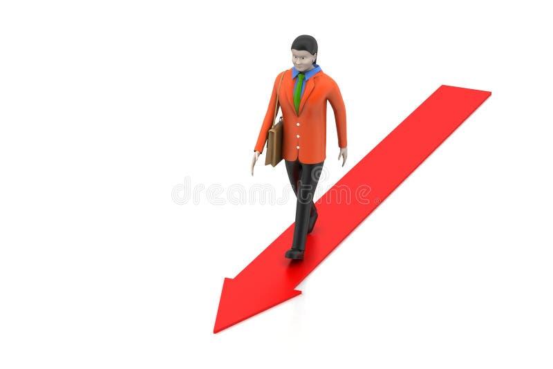 Bedrijfsvrouw die bij het kweken van pijl lopen vector illustratie