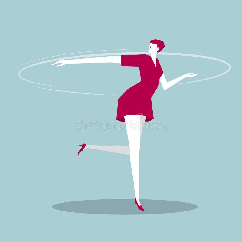Bedrijfsvrouw die dansend zijn vector illustratie